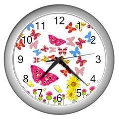 Butterfly Beauty Wall Clock (Silver)