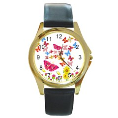 Butterfly Beauty Round Leather Watch (gold Rim)