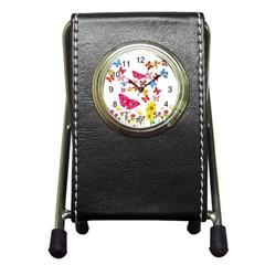 Butterfly Beauty Stationery Holder Clock