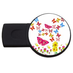 Butterfly Beauty 4gb Usb Flash Drive (round)