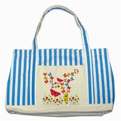 Butterfly Beauty Blue Striped Tote Bag