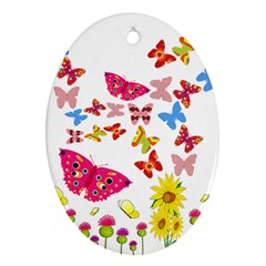 Butterfly Beauty Oval Ornament (Two Sides)