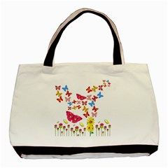 Butterfly Beauty Twin Sided Black Tote Bag