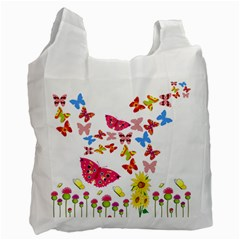 Butterfly Beauty White Reusable Bag (One Side)