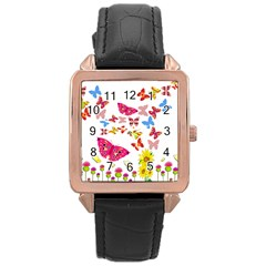 Butterfly Beauty Rose Gold Leather Watch