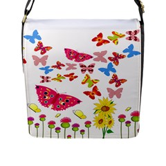 Butterfly Beauty Flap Closure Messenger Bag (Large)