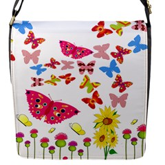Butterfly Beauty Flap Closure Messenger Bag (Small)