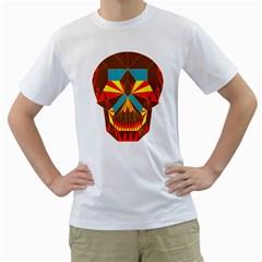 Geometry Skull Men s T Shirt (white)