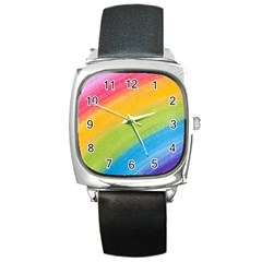 Acrylic Rainbow Square Leather Watch