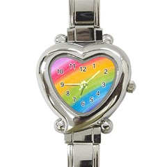Acrylic Rainbow Heart Italian Charm Watch