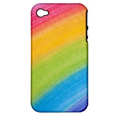Acrylic Rainbow Apple Iphone 4/4s Hardshell Case (pc+silicone)