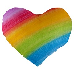 Acrylic Rainbow 19  Premium Heart Shape Cushion