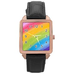 Acrylic Rainbow Rose Gold Leather Watch