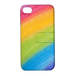 Acrylic Rainbow Apple iPhone 4/4S Hardshell Case with Stand