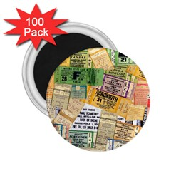 Retro Concert Tickets 2 25  Button Magnet (100 Pack)