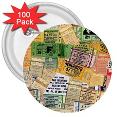 Retro Concert Tickets 3  Button (100 Pack)