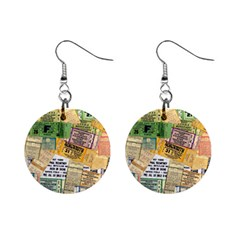 Retro Concert Tickets Mini Button Earrings