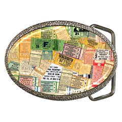 Retro Concert Tickets Belt Buckle (oval)