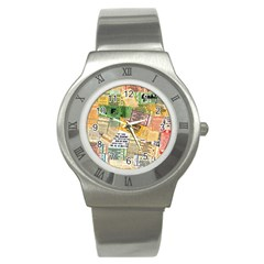 Retro Concert Tickets Stainless Steel Watch (slim)