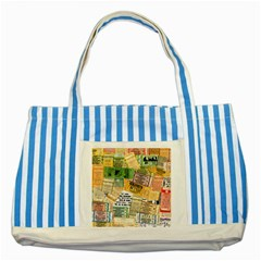 Retro Concert Tickets Blue Striped Tote Bag