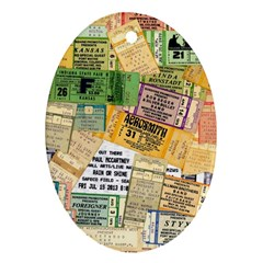 Retro Concert Tickets Oval Ornament (Two Sides)