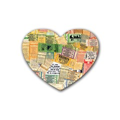 Retro Concert Tickets Drink Coasters 4 Pack (heart)