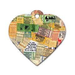 Retro Concert Tickets Dog Tag Heart (Two Sided)