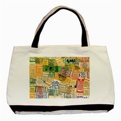 Retro Concert Tickets Twin-sided Black Tote Bag