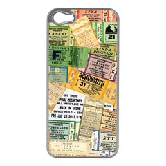 Retro Concert Tickets Apple iPhone 5 Case (Silver)