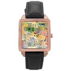 Retro Concert Tickets Rose Gold Leather Watch