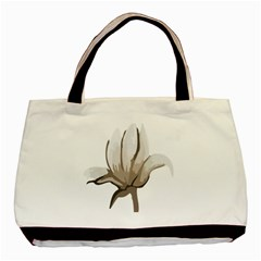 Flower Twin Sided Black Tote Bag