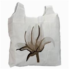 Flower White Reusable Bag (One Side)