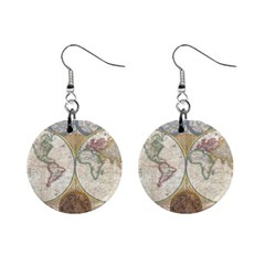 1794 World Map Mini Button Earrings