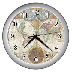1794 World Map Wall Clock (silver)