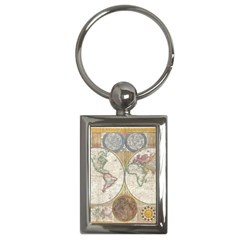 1794 World Map Key Chain (Rectangle)