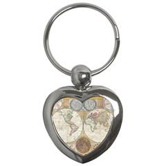 1794 World Map Key Chain (Heart)