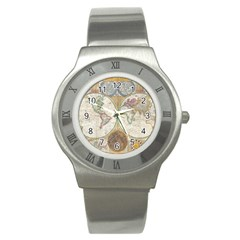 1794 World Map Stainless Steel Watch (Slim)