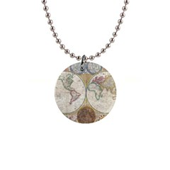 1794 World Map Button Necklace
