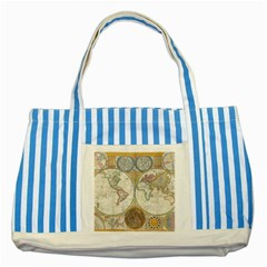 1794 World Map Blue Striped Tote Bag
