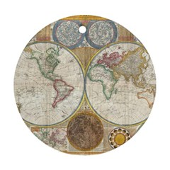 1794 World Map Round Ornament (Two Sides)
