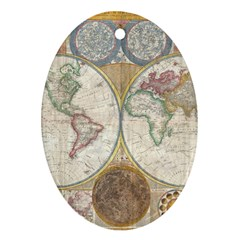 1794 World Map Oval Ornament (two Sides)
