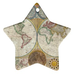 1794 World Map Star Ornament (Two Sides)