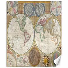1794 World Map Canvas 8  x 10  (Unframed)