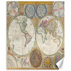 1794 World Map Canvas 20  x 24  (Unframed)