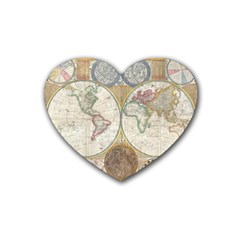 1794 World Map Drink Coasters (Heart)
