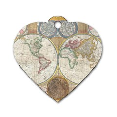 1794 World Map Dog Tag Heart (Two Sided)