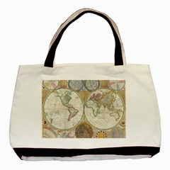 1794 World Map Twin-sided Black Tote Bag