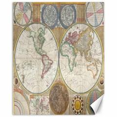 1794 World Map Canvas 11  x 14  (Unframed)