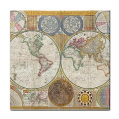 1794 World Map Face Towel
