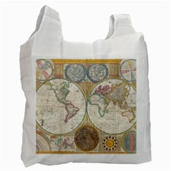 1794 World Map White Reusable Bag (Two Sides)